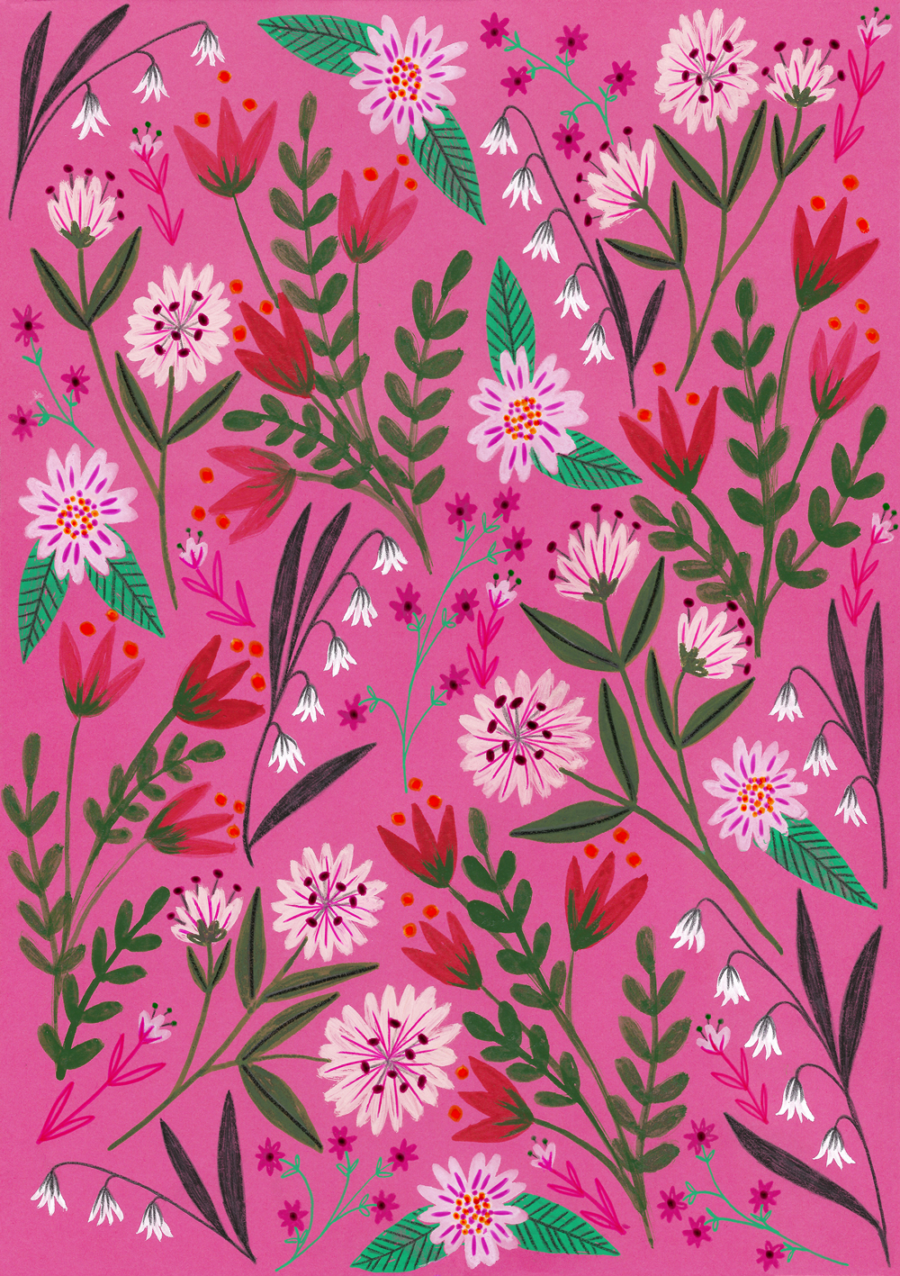 Pink Sunset Garden Pattern · Lee Foster-Wilson