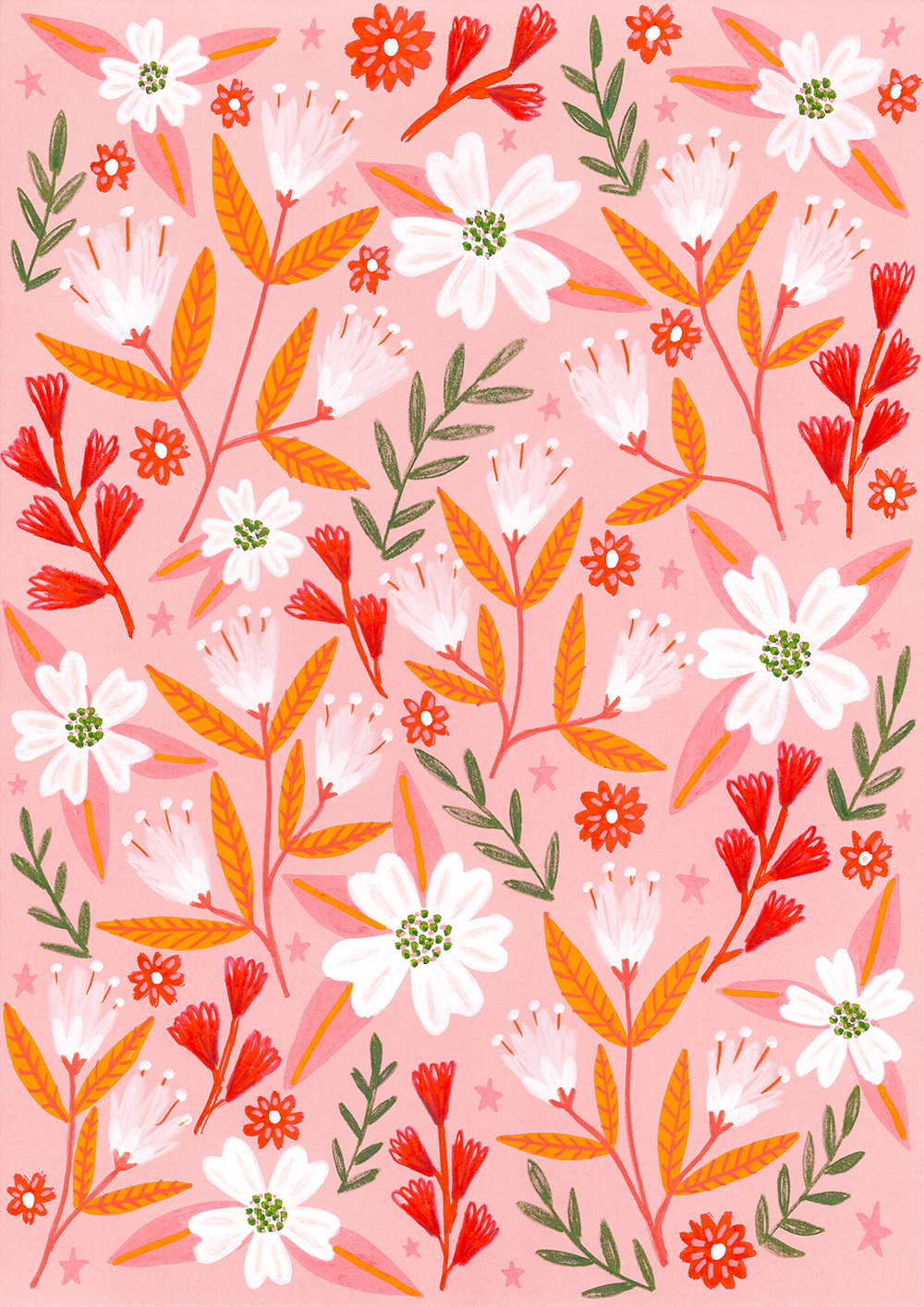Pink and Orange Flowers Pattern · Lee Foster-Wilson